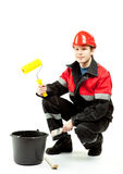 Painter in uniform with special tools Royalty Free Stock Images