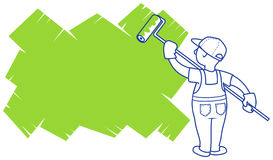 Painter. Vector illustration. The house painter paints area for a placeholder Stock Photography