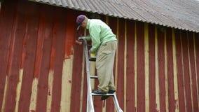 Painter wall brush stock video