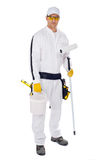 Painter in white overalls Stock Images