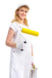 Painter woman. Smiling painter woman in white suit. Isolated over white background Royalty Free Stock Images