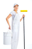 Painter woman. Smiling painter woman in white suit. Isolated over white background Stock Photos