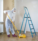Painter woman. Making her work Stock Photography