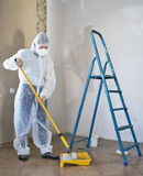 Painter woman. Making her work Royalty Free Stock Photos