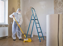 Painter woman. Making her work Stock Image