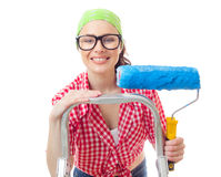 Painter woman. Smiling woman with paintroller ready for renovating or wall painting, isolated on white Stock Photography