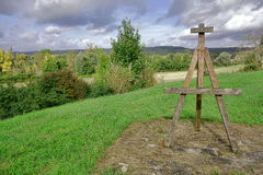 Painter Wood Easel Monument and Seine River Valley Royalty Free Stock Image