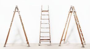 Painter wooden ladder,isolated on white, wall painting. Concept Stock Images