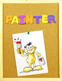 Painter word on a corkboard Royalty Free Stock Photos