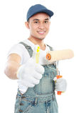 Painter worker showing thumb up Royalty Free Stock Photos