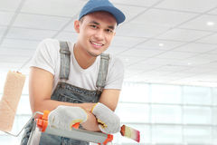Painter worker smiling Royalty Free Stock Photo