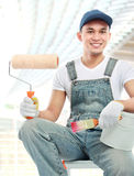 Painter worker smiling Royalty Free Stock Photos