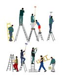 Painter workers on ladder vector illustration isolated on white background. Man decorator painting wall with paint brush roller. stock illustration