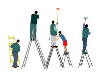 Painter workers on ladder vector illustration isolated on white. Man decorator painting wall with paint brush roller. vector illustration