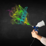 Painter working with airbrush Stock Photography