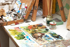 Painter working place Royalty Free Stock Photos