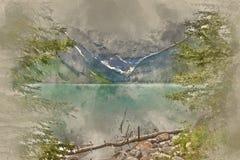 Painterly преобразованное изображение древнего Lake Louise в Канаде стоковое фото