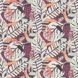 Painterly ботаническая текстура предпосылки Пастельная тонизированная безшовная картина иллюстрация штока