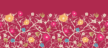 Painterly blossoming tree horizontal seamless. Vector painted blossoming branches horizontal seamless pattern background with hand drawn elements royalty free illustration