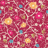 Painterly Blossoming Tree Seamless Pattern Royalty Free Stock Images