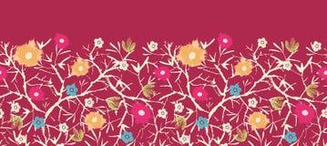 Painterly kwitnie drzewny horyzontalny bezszwowy Fotografia Stock