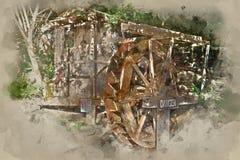Painterly omgezet beeld van een waterwiel stock afbeelding