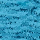 Painterly texturdesign som liknar en stim av fisken Sömlös vektormodell i olika toner av blått på mörk bakgrund stock illustrationer