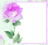 Painterly watercolor Rose blossom Flower frame copy ready. Elegant Rose border original art watercolor painting note card, menu stationery, sign  perfect for Royalty Free Stock Photos