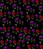 Painterly watercolor Rose blossom Flowers  on a black background. MysteriousRose wall paper original art watercolor painting repeat pattern Royalty Free Stock Photo