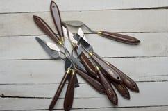 Painters artist metal art steel spatula tool set Stock Images