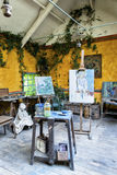 Painters atelier. Atelier / workshop of impressionist painters in Giverny, Hotel Baudy in France. Home of Monet stock images