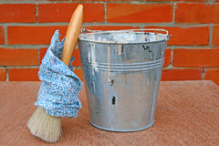 Painters bucket and brush Royalty Free Stock Images