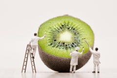 Painters coloring kiwi. Macro photo Royalty Free Stock Photo