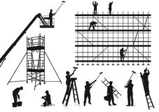 Painters and craftsmen at work.. Illustration of painters and craftsmen shown in silhouette Stock Photography