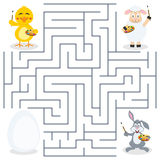 Painters & Easter Egg Maze for Kids vector illustration
