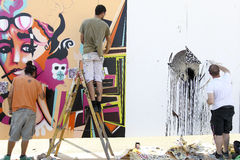 Painters graffiti during the course of Street Art Festival Thess Stock Photos