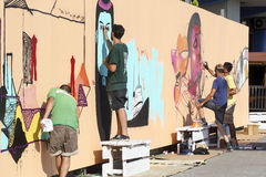 Painters graffiti during the course of Street Art Festival Thess Royalty Free Stock Photos