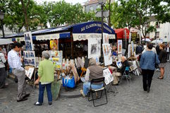 Painters in montmartre. Montmartre is one of the most popular destinations in Paris, with Rue de Steinkerque being its ultimate shopping street Royalty Free Stock Photos