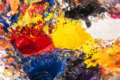 Painters oil material. Painters palette - the artist& x27;s oil material Stock Photo