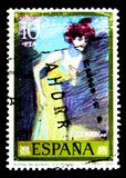 Painters: Pablo Picasso, serie, circa 1978. MOSCOW, RUSSIA - MAY 15, 2018: A stamp printed in Spain shows Painters: Pablo Picasso, serie, circa 1978 royalty free stock image