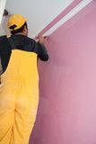 Painters Painting Details Pink Construction Worker Royalty Free Stock Image