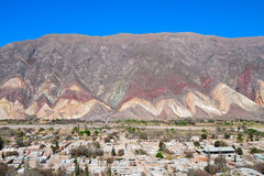 Painters Palette Hill. Paleta del Pintor, behind the village of Maimara in Jujuy prov., Argentina. The painters palette hill is a landmark of the colorful Royalty Free Stock Photo