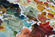 Painters Palette with Water Color. Painters Palette with a variety of Water Colors Stock Photography