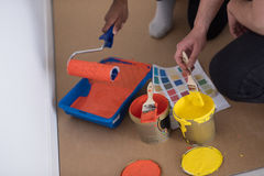 Painters prepare color for painting Royalty Free Stock Photography