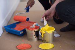 Painters prepare color for painting Stock Photo