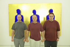 Painters stand in front of sculpture of Yves Klein, the Museum of Modern and Contemporary Art of Nice, Nice, France Royalty Free Stock Photos