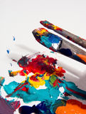 Painters Tools. Artists paint brushes and paint stock photos