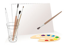 Painters tools. Tools for the artist, cartoon image. Vector (EPS 8 Royalty Free Stock Images