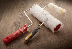 Painters Tools in wooden background. Painters Tools on wooden background Stock Images