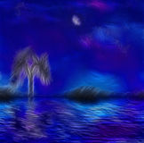 Paintertly nightscape. Paintertly night scape with tree and moon Royalty Free Stock Images
